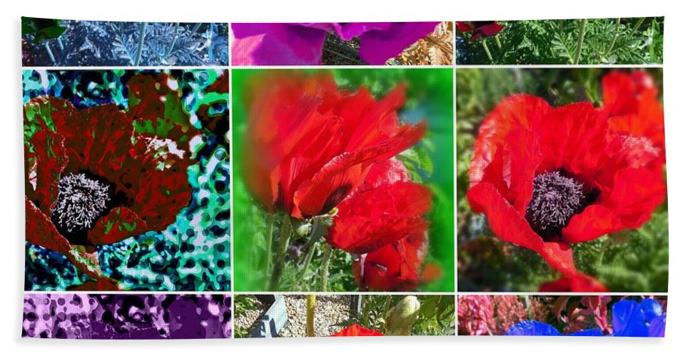 Photography Hand Towel featuring the photograph Poppy Collage by Amanda Elizabeth Sullivan