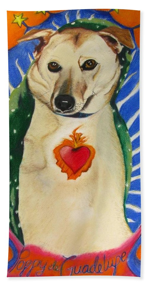 Dog Painting Hand Towel featuring the painting Poppy De Guadelupe by Michelle Hayden-Marsan