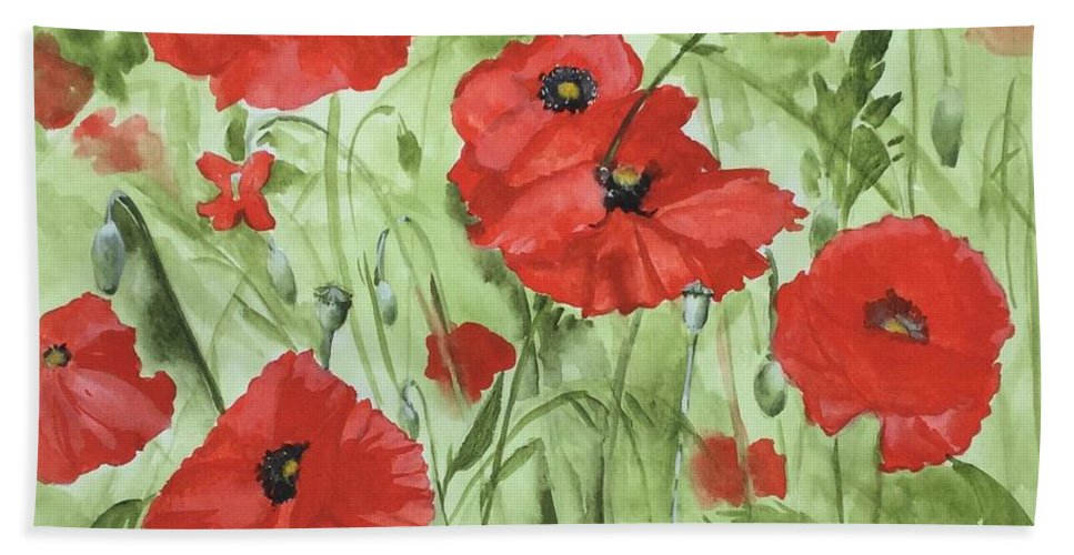 Red Bath Towel featuring the painting Poppy Field 1 by Jean Blackmer