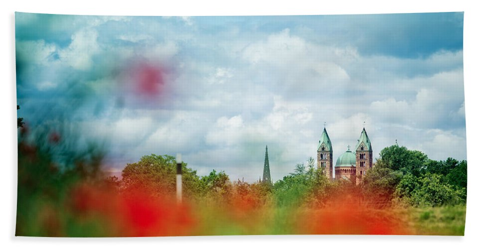 Poppy Hand Towel featuring the photograph Poppy Field And Speyer Cathedral by Nailia Schwarz