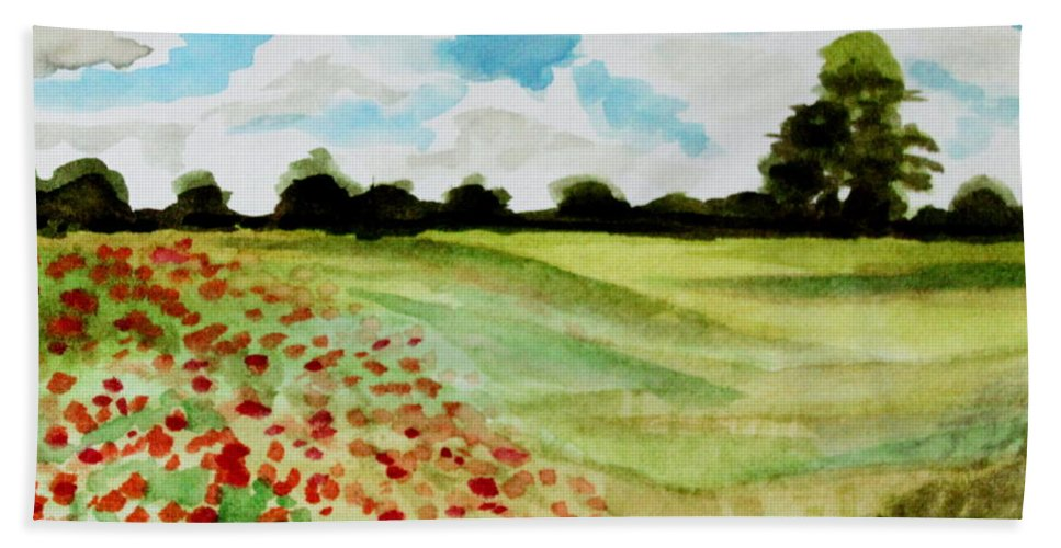 Landscape Bath Sheet featuring the painting Poppy Meadow by Elizabeth Robinette Tyndall
