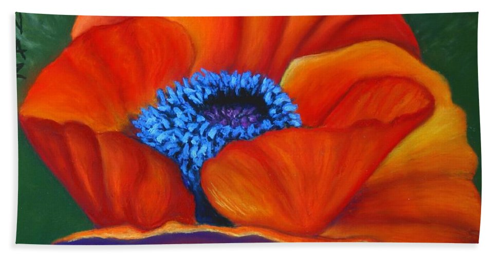 Red Flower Bath Sheet featuring the painting Poppy Pleasure by Minaz Jantz