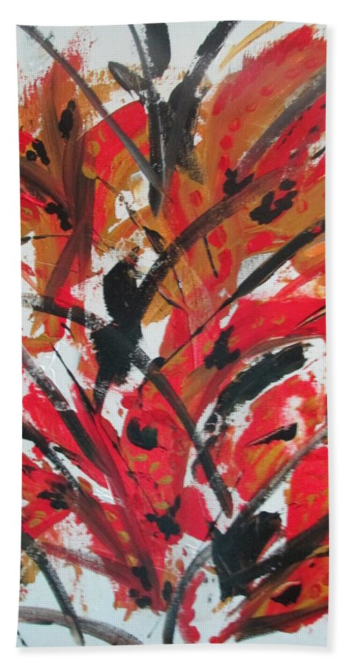 Abstract Hand Towel featuring the painting Poppy Storm by Sharyn Winters