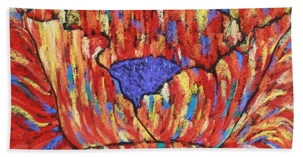 Poppy Bath Towel featuring the painting Poppy2 by Melinda Etzold