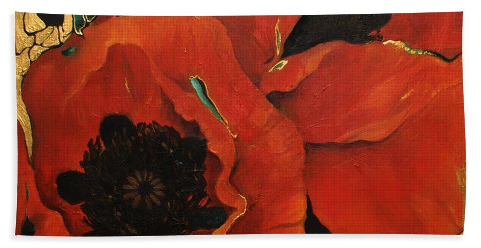 Lin Petershagen Bath Sheet featuring the painting Poppygold by Lin Petershagen
