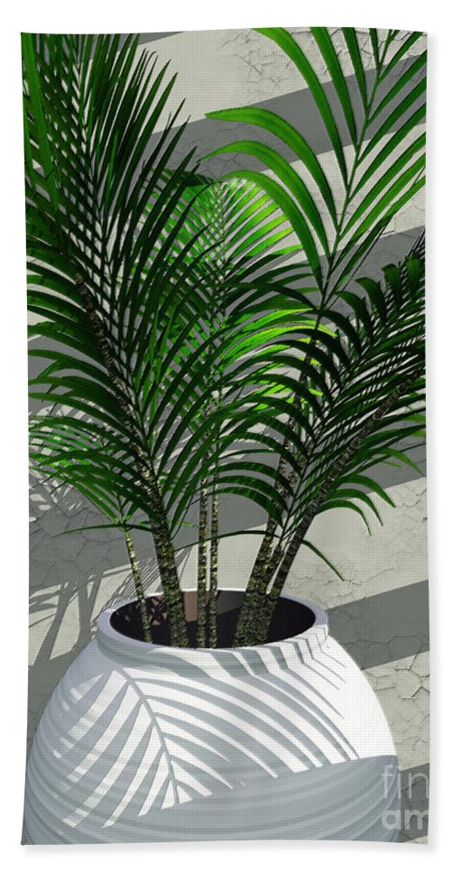 Palms Bath Sheet featuring the digital art Porch Plant by Richard Rizzo
