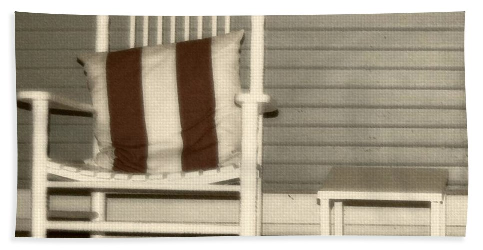 Rocking Chair Bath Towel featuring the photograph Porch Rocker by Debbi Granruth