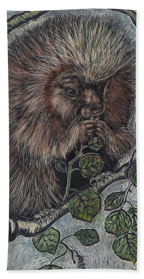 Animal Bath Sheet featuring the drawing Porcupine In Aspen by Dawn Senior-Trask