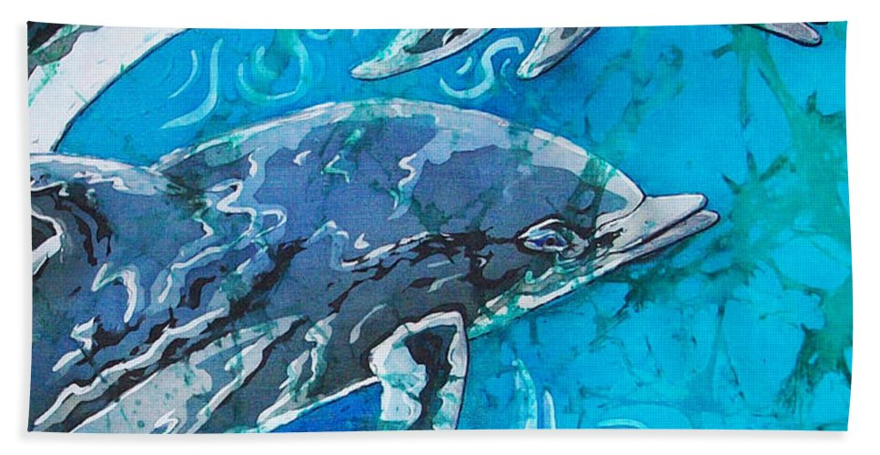 Porpoise Hand Towel featuring the painting Porpoise Pair - Close Up by Sue Duda