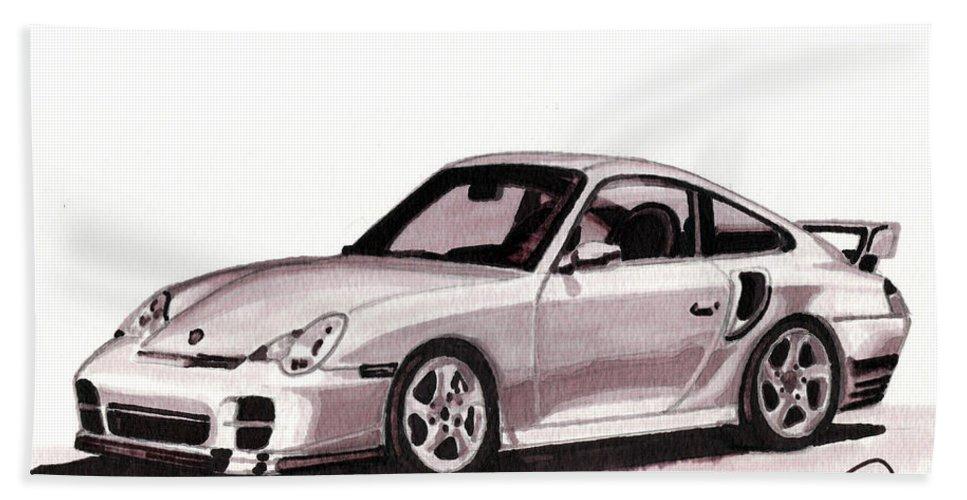 Car Hand Towel featuring the mixed media Porsche by Alban Dizdari