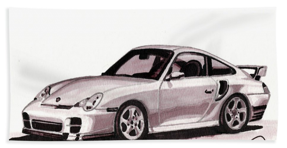 Car Bath Towel featuring the mixed media Porsche by Alban Dizdari