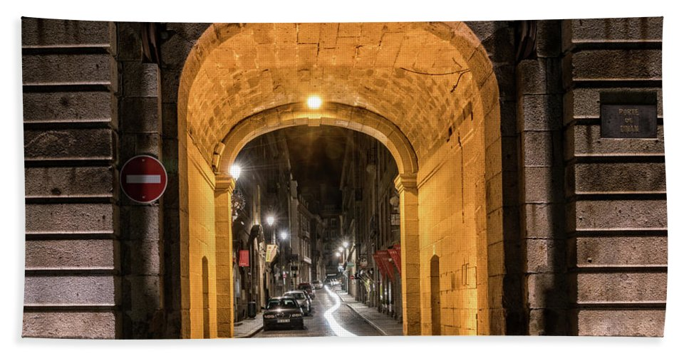 Brittany Bath Sheet featuring the photograph Port Dinan Archway At Night by Izet Kapetanovic