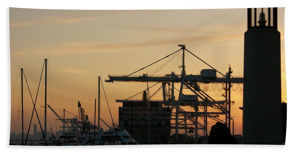Oakland Hand Towel featuring the photograph Port Of Oakland Sunset by Carol Groenen