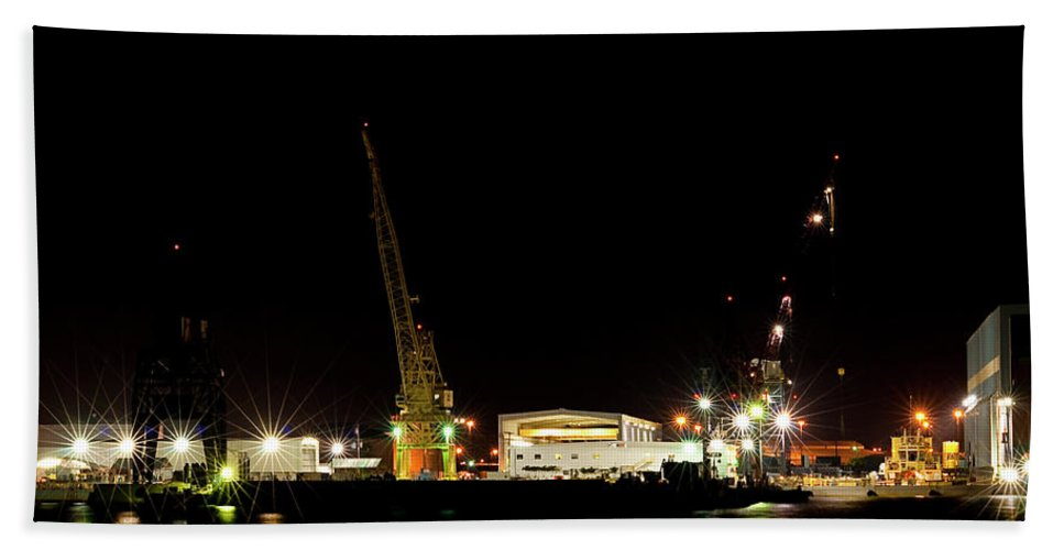 Port Bath Sheet featuring the photograph Port Of Tampa At Night by Carolyn Marshall
