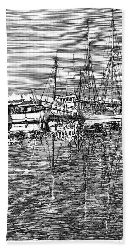 Yacht Portraits Hand Towel featuring the drawing Port Orchard Marina by Jack Pumphrey