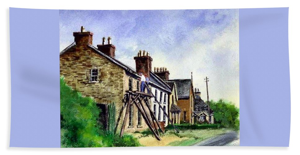Water Color Hand Towel featuring the painting Port Rush Gutter Repair by Jim Gola
