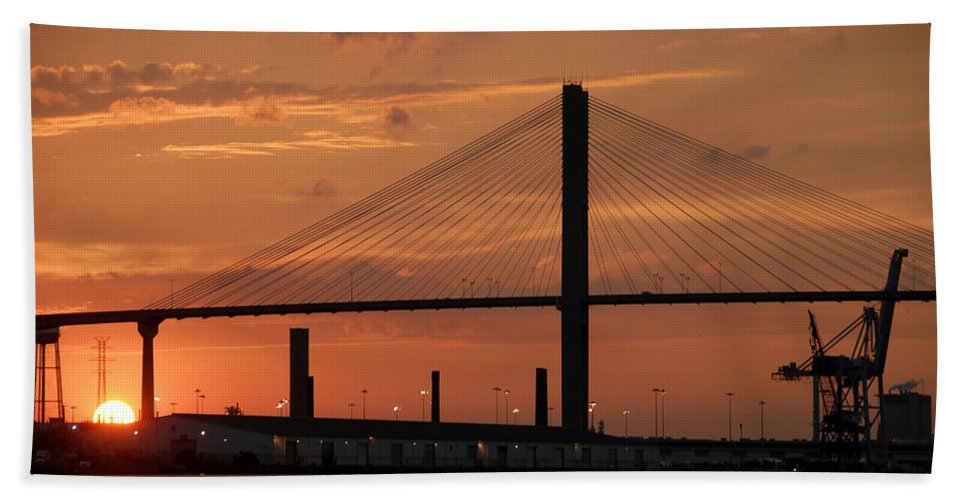 Fine Art Photography Hand Towel featuring the photograph Port Savannah Sunset by David Lee Thompson