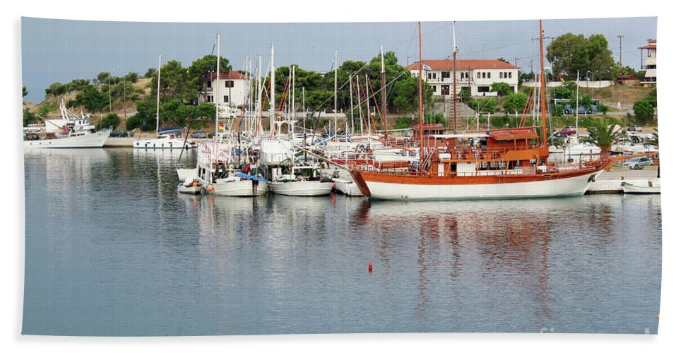 Ship Hand Towel featuring the photograph Port With Sailboat And Fishing Boat by Goce Risteski