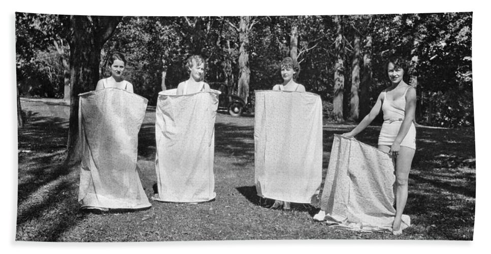 1930s Hand Towel featuring the photograph Portable Bath Houses by Underwood Archives