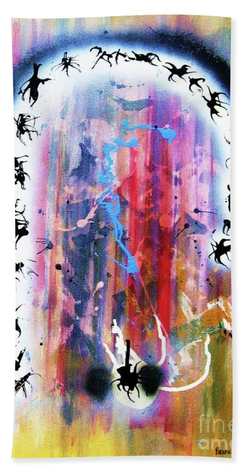 Abstraction Hand Towel featuring the painting Portal Of Beginning Again by Roberto Prusso