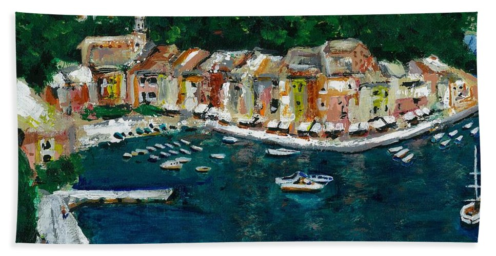 Abstact Italy Bath Towel featuring the painting Portifino Italy by Frances Marino