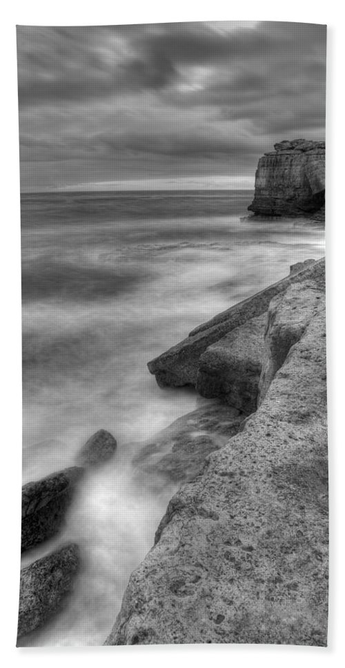 Portland Hand Towel featuring the photograph Portland Bill Seascape In Black And White by Ian Middleton