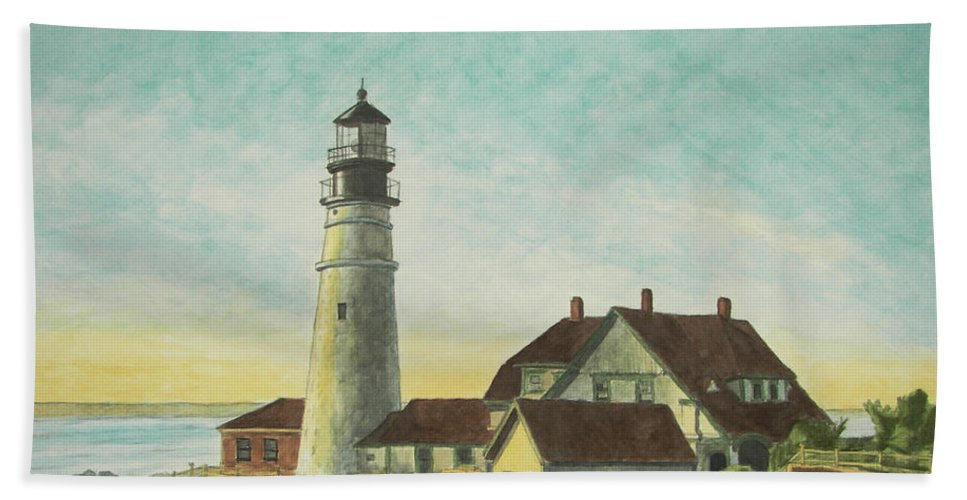 Lighthouse Bath Towel featuring the painting Portland Head Light At Sunrise by Dominic White