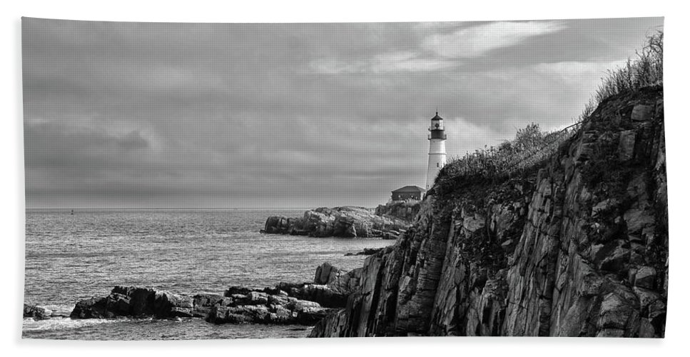 Portland Hand Towel featuring the photograph Portland Head Lighthouse - Cape Elizabeth Maine In Black And White by Bill Cannon