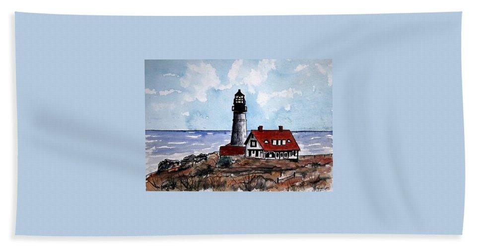 Lighthouse Paintings Bath Sheet featuring the painting Portland Head Lighthouse by Derek Mccrea