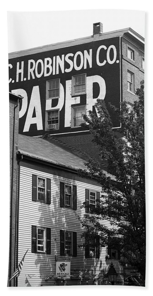 America Hand Towel featuring the photograph Portland, Maine - Ghost Mural Bw by Frank Romeo