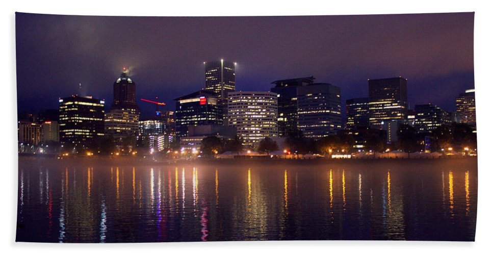 Portland Oregon Bath Sheet featuring the photograph Portland Night Skyline by Joseph Skompski