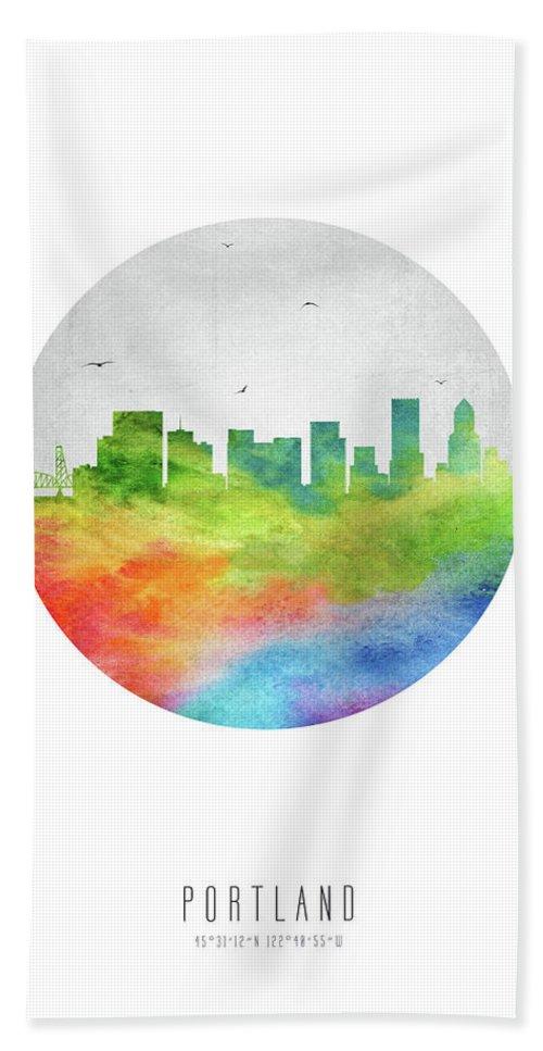 Portland Hand Towel featuring the digital art Portland Skyline Usorpo20 by Aged Pixel