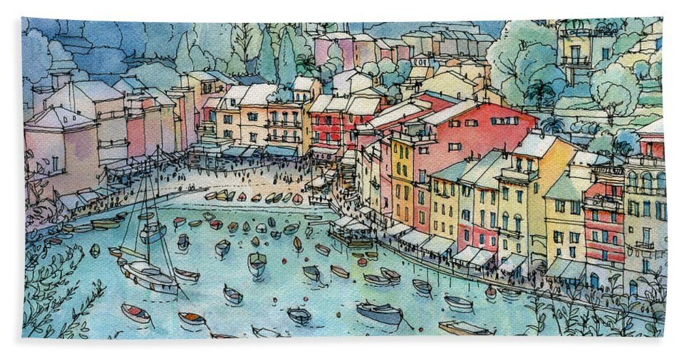Portofino Hand Towel featuring the painting Portofino by Luca Massone