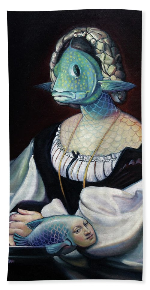 Fish Hand Towel featuring the painting Portrait Of A Gentlefisher by Patrick Anthony Pierson