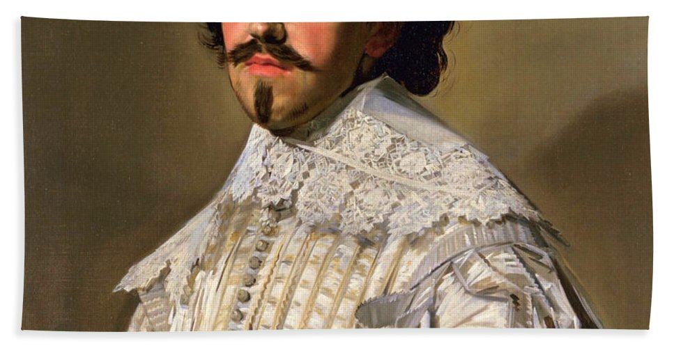 Frans Hals Bath Sheet featuring the painting Portrait Of A Gentleman In White by Frans Hals