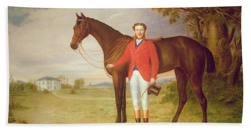 Portrait Hand Towel featuring the painting Portrait Of A Gentleman With His Horse by English School
