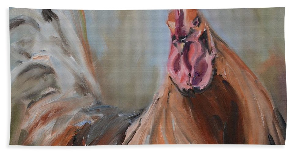 Hen Hand Towel featuring the painting Portrait Of A Rooster by Donna Tuten