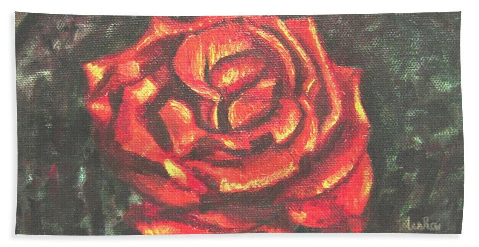 Red Hand Towel featuring the painting Portrait Of A Rose 2 by Usha Shantharam