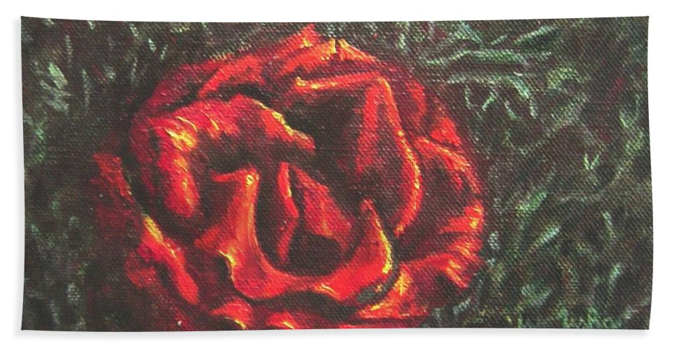 Portrait Hand Towel featuring the painting Portrait Of A Rose 6 by Usha Shantharam