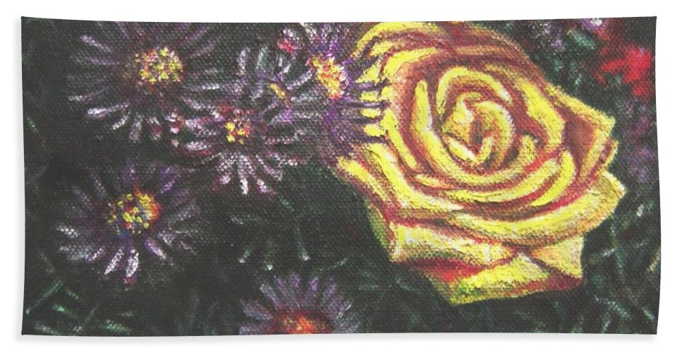 Yellow Hand Towel featuring the painting Portrait Of A Rose 7 by Usha Shantharam