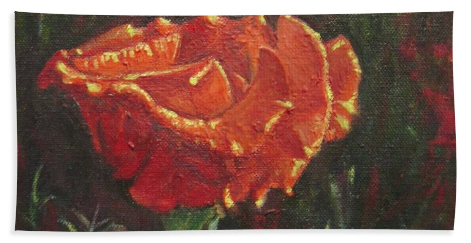 Portrait Hand Towel featuring the painting Portrait Of A Rose 8 by Usha Shantharam