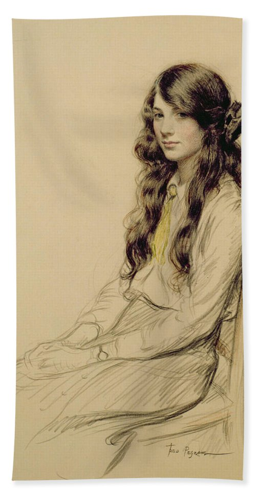 Portrait Bath Towel featuring the drawing Portrait Of A Young Girl by Frederick Pegram