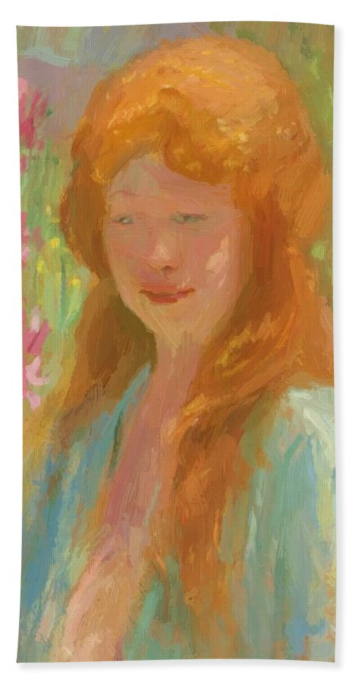 Portrait Hand Towel featuring the painting Portrait Of A Young Women In Garden 1912 by Reid Robert Lewis