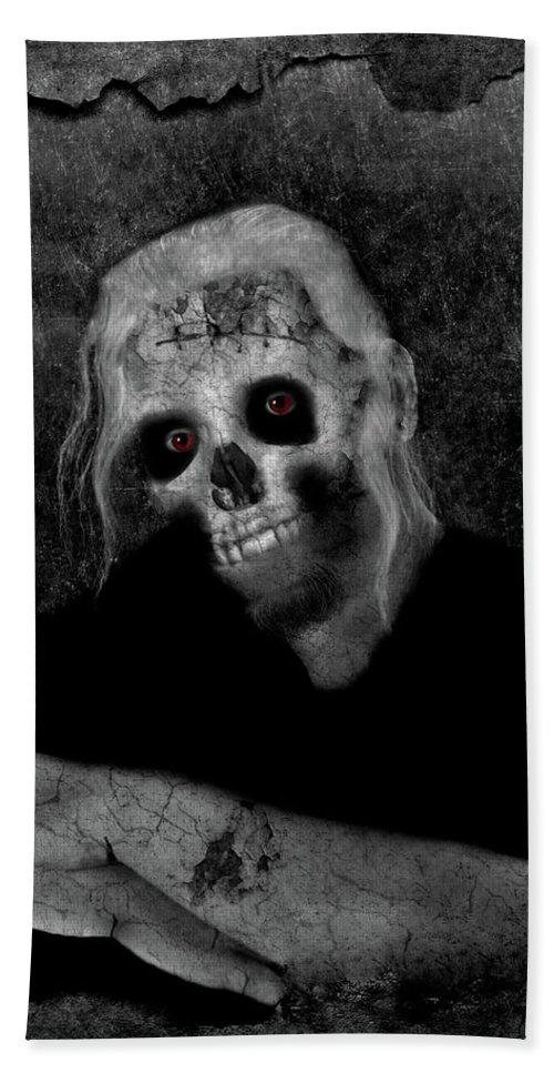 Portrait Hand Towel featuring the photograph Portrait Of A Zombie by Amber Flowers