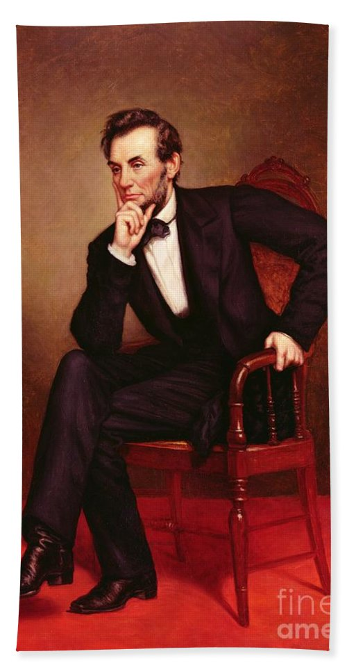 Portrait Of Abraham Lincoln (oil On Canvas) By George Peter Alexander Healy (1808-94) Hand Towel featuring the painting Portrait Of Abraham Lincoln by George Peter Alexander Healy