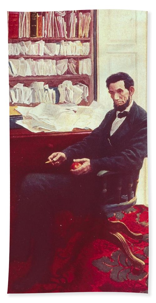 Portrait Of Abraham Lincoln (colour Litho) By Howard Pyle (1853-1911) Hand Towel featuring the painting Portrait Of Abraham Lincoln by Howard Pyle