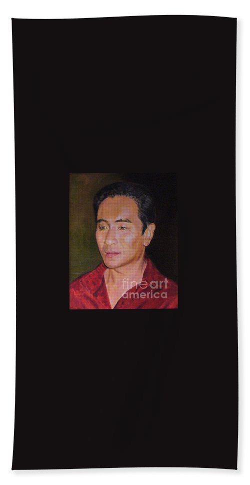 Actor Hand Towel featuring the painting Portrait Of Actor Anthony Brandon Wong by Anees Peterman