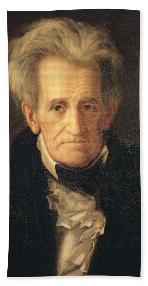 Portrait Of Andrew Jackson (oil On Canvas) By George Peter Alexander Healy (1808-94) Hand Towel featuring the painting Portrait Of Andrew Jackson by George Peter Alexander Healy