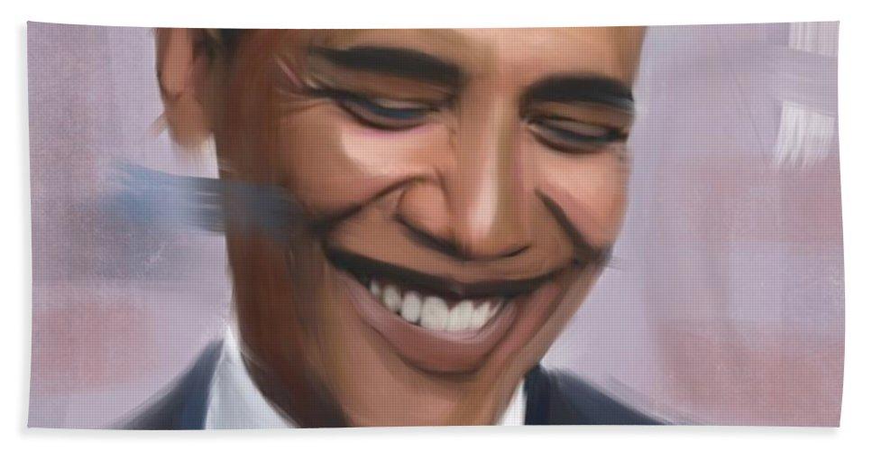 Marilynmonroe Bath Sheet featuring the digital art Portrait Of Barack Obama by Serigne Niang