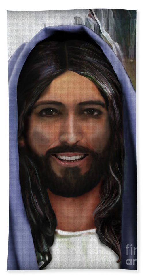 Jesus Hand Towel featuring the painting Portrait Of Christ by Todd L Thomas